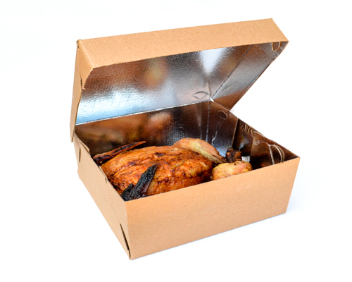 Caixa para frango assado com interior laminado