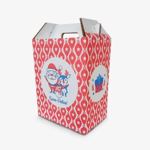 Caixa de papelão para cesta de natal